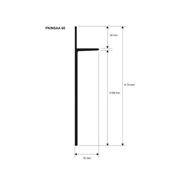 Плинтус алюминиевый анодированное серебро Proskirting INS PKINSAA 60 2м.