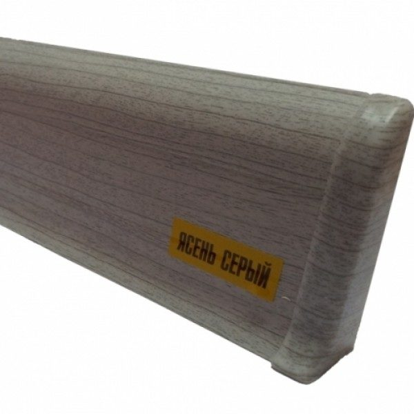 Напольный пластиковый плинтус пвх Идеал Комфорт к55 Ясень Серый 253 (ideal Comfort 55х22х2500 мм)