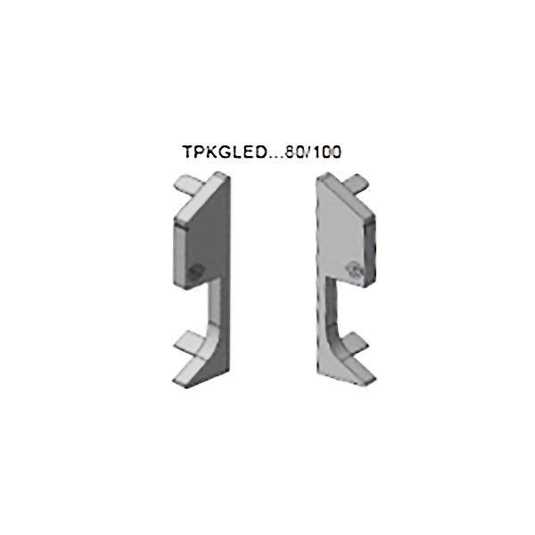Заглушки (левая+правая) TPKGLEDBC 80, блестящий хром, для плинтуса PROSKIRTING GILED, Progress profiles