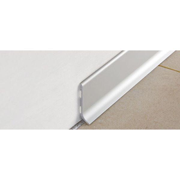 Плинтус алюминиевый крацованный, серебро, BTBS 80 - Progress profiles