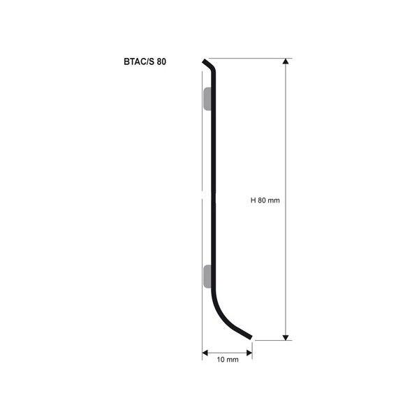 Плинтус из нержавейки напольный, 80 Progress Profiles 2м. Сатинированный, BTACS 80