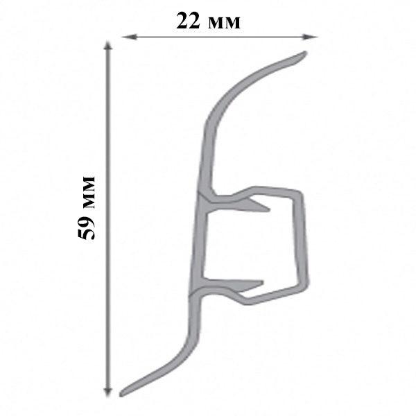 Плинтус пластиковый напольный Cezar Premium 59х22x2500 мм. Дуб болотистый 156 / шт.