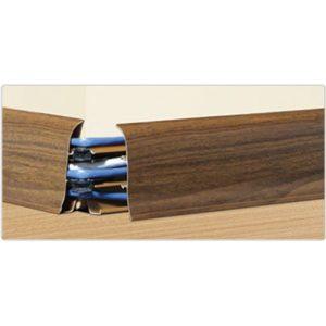 Напольный пластиковый плинтус пвх Идеал Элит Макси м85 208 Дуб мокко (ideal elit maxsi 85х25х2500 мм)