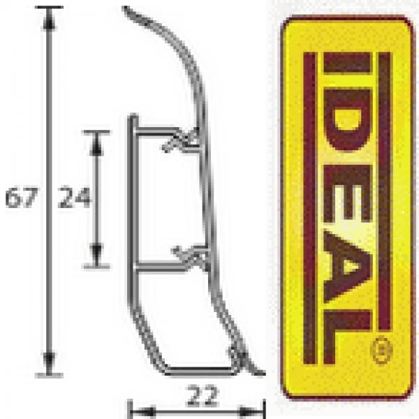 Плинтус идеал Люкс Ясень белый 252 (ideal Luxe) 67х22х2500 мм
