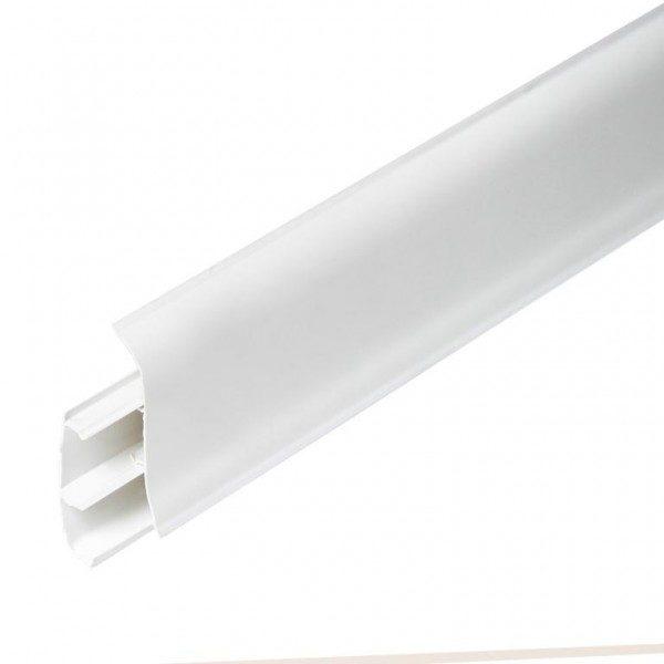 Напольный пластиковый плинтус пвх Идеал Элит е67 001 Белый (ideal elit 67х22х2500 мм)