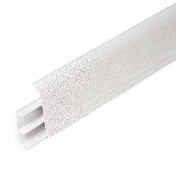Напольный пластиковый плинтус пвх Идеал Элит Макси м85 214 Дуб серый (ideal elit maxsi 85х25х2500 мм)