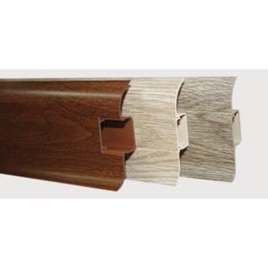 Напольный пластиковый плинтус пвх Идеал Комфорт к55 Сантал темный 327 (ideal Comfort 55х22х2500 мм)