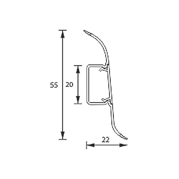 Плинтус напольный пластиковый Идеал Оптима, O55, 2500 х 55 мм. 3D Дуб мокко-208 / шт.
