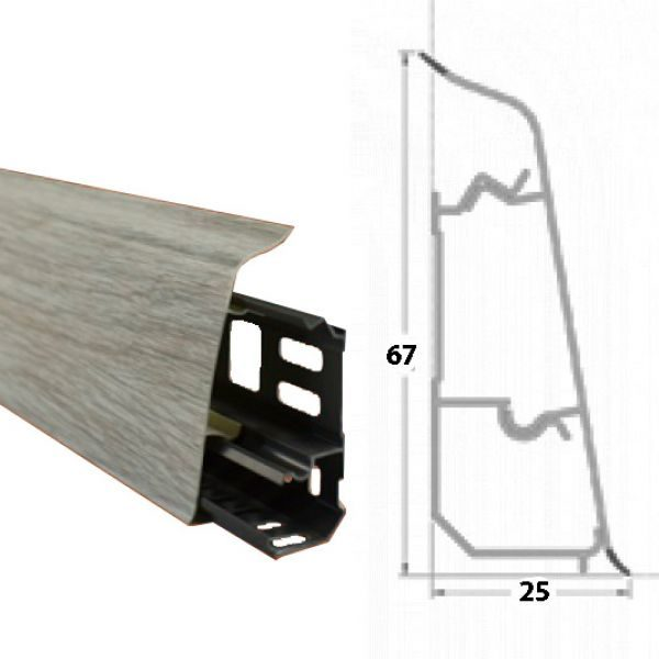 Плинтус пластиковый напольный Декор-Пласт 2500х67х25мм. Афромозия LL015 / шт.
