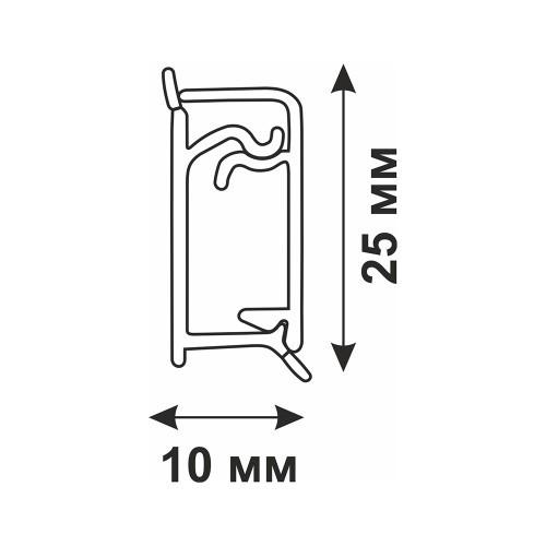 Кухонный плинтус для столешниц Rico Technical алюминиевый прямоугольный (25х10 мм)