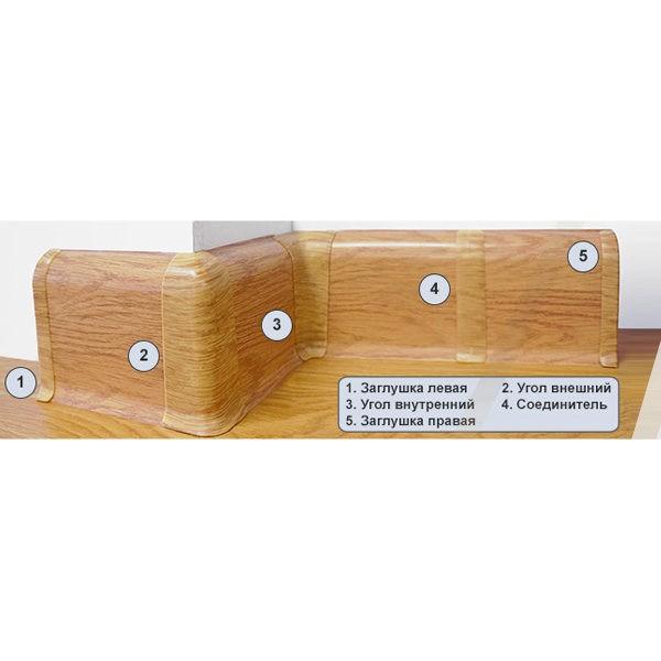 Плинтус пластиковый Вимар (Wimar), напольный, с кабель каналом, 68x22x2500 мм. Дуб гартвис, 68мм. / шт.