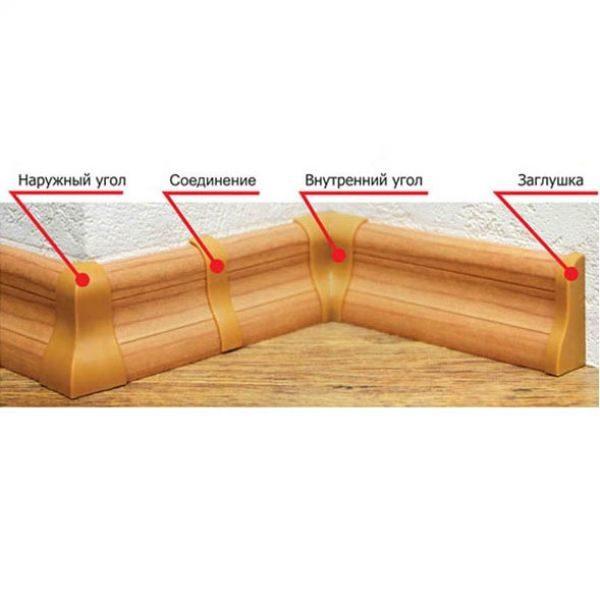 Плинтус напольный пластиковый T-plast, с кабель-каналом, 58х22x2500 мм. 003 Бук натуральный / шт.